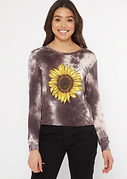 Black Tie Dye Sunflower Graphic Tee