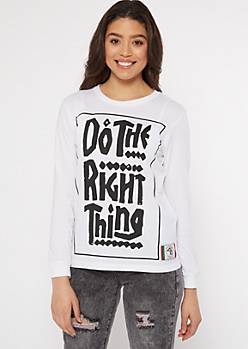 Do The Right Thing White Long Sleeve Graffiti Tee