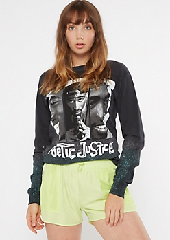 Airbrush Gradient Poetic Justice Long Sleeve Graphic Tee