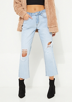 Vintage Wash High Waisted Wide Leg Cropped Jeans