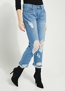 Medium Wash Distressed Straight Cropped Jeans