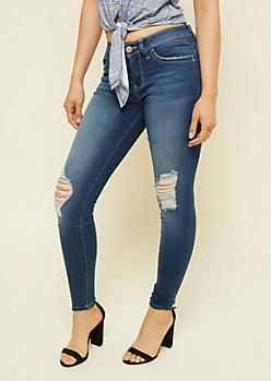 YMI Wanna Betta Butt Dark Wash Mid Rise Distressed Skinny Jeans