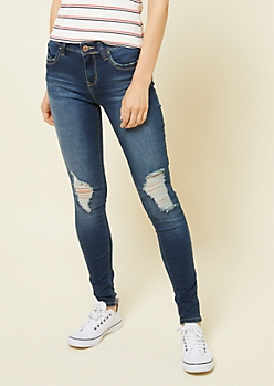 YMI Wanna Betta Butt Dark Wash Mid Rise Shredded Skinny Jeans