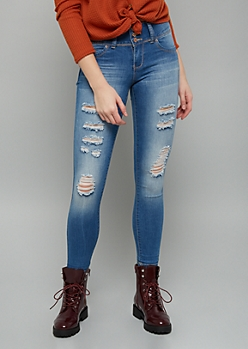 YMI Wanna Betta Butt Medium Wash Distressed Rolled Ankle Jeans
