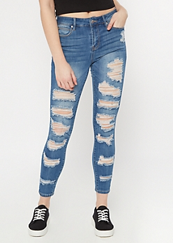 Medium Wash Distressed Roll Up Ankle Jeggings