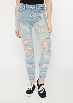 Light Wash Distressed Roll Up Ankle Jeggings