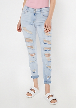 Light Wash Ripped Rolled Hem Skinny Jeans