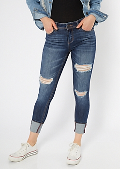 Dark Wash Distressed Wide Cuff Jeggings
