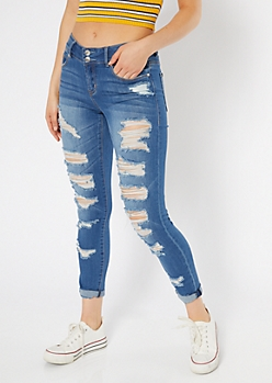 Medium Wash Double Button Distressed Rolled Jeggings