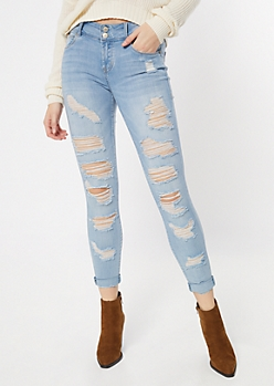 Light Wash Double Button Distressed Rolled Jeggings