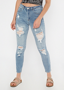 Light Wash Ripped Mom Jeans
