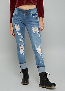 Medium Wash Mid Rise Destroyed Cuffed Ankle Booty Jeans