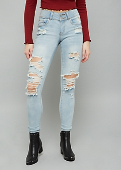 Light Wash Mid Rise Distressed Knee Jeggings