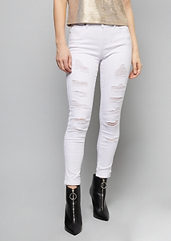 White Destroyed Mid Rise Skinny Jeans