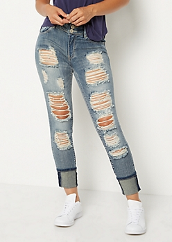 Vintage Wash Button Front Distressed Skinny Jeans in Regular