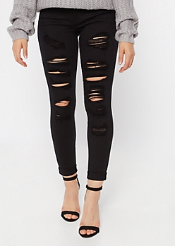 Black Mid Rise Ripped Rolled Cuff Jeggings