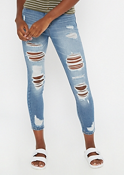 Recycled Medium Wash Throwback Ripped Jeggings