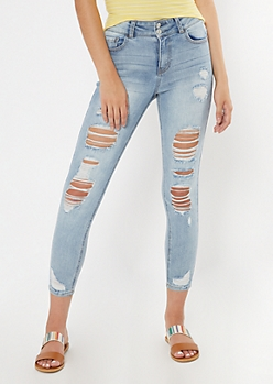 Light Wash Ripped Recycled Throwback Jeggings