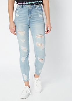 Light Wash High Waisted Ripped Jeggings