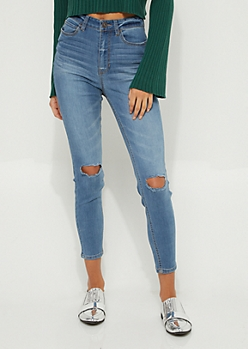 Medium Wash Extra High Waisted Ripped Knee Jeggings