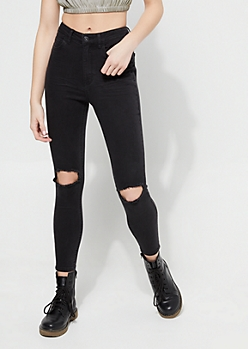 Black Extra High Waisted Ripped Knee Jeggings