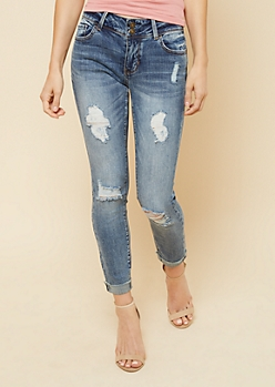 Dark Wash Low Rise Distressed Cuffed Ankle Jeans