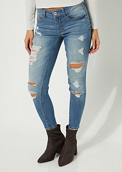 Medium Wash Mid Rise Distressed Jeggings