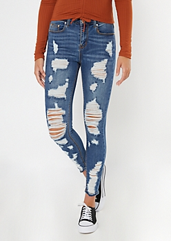 Recycled Dark Wash Destroyed High Waisted Skinny Jeans