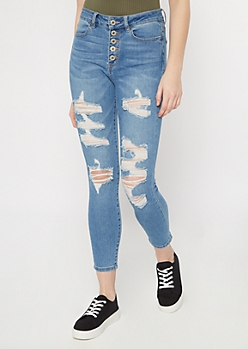 Medium Wash Exposed Button Ankle Jeggings