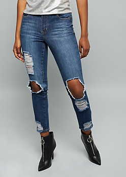 Dark Wash High Waisted Distressed Premium Ankle Jeggings