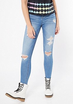 Medium Wash Distressed Skinny Ankle Jeans