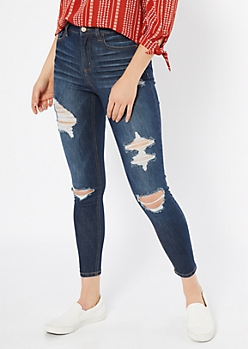 Dark Wash Distressed Skinny Ankle Jeans