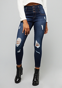 Dark Wash Distressed High Waisted Triple Button Ankle Jeggings