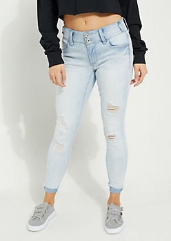 Light Wash Mid Rise Cuffed Ankle Jeggings