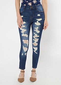 Dark Wash Ultimate Stretch Ripped Skinny Ankle Jeans