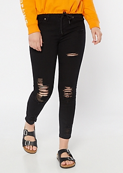 Black Distressed Mid Rise Ankle Jeggings