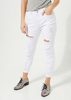 White High Waisted Ripped Cropped Jeggings