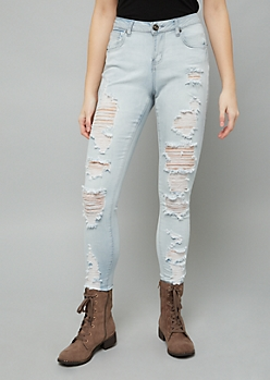 Light Wash Destroyed High Waisted Jeggings