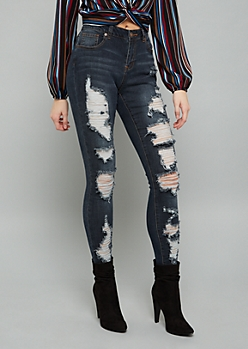 Dark Wash Destroyed High Waisted Jeggings