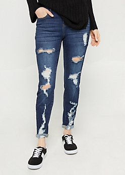 Dark Wash High Waisted Destroyed Skinny Jeans in Short