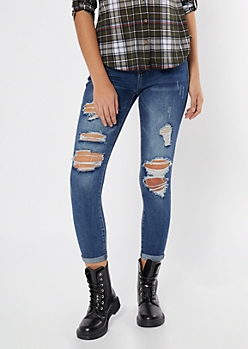 Ultimate Stretch Dark Wash Ripped Jeggings