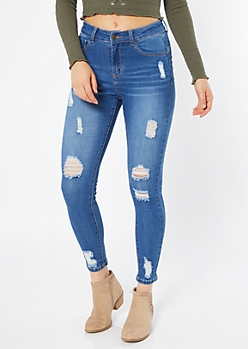 Medium Wash High Waisted Ripped Cuff Booty Jeggings