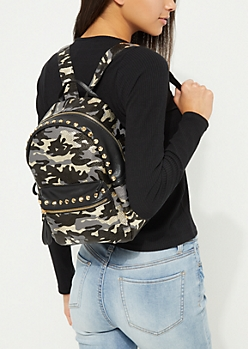 Black Camo Studded Mini Backpack