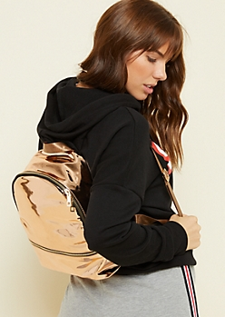 Rose Gold Metallic Zipper Backpack