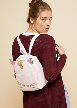 Pink Caticorn Faux Leather Mini Backpack