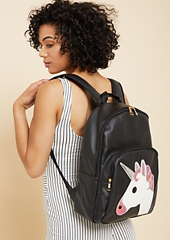 Black Unicorn Patch Faux Leather Backpack