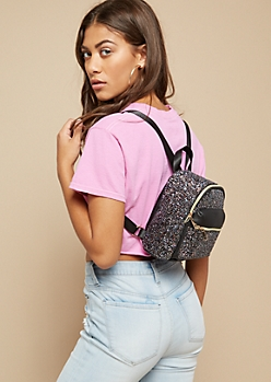 Black Faux Leather Glitter Mini Backpack