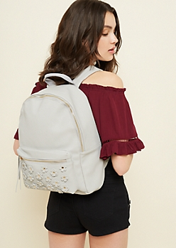 Light Gray Faux Leather Floral Applique Backpack