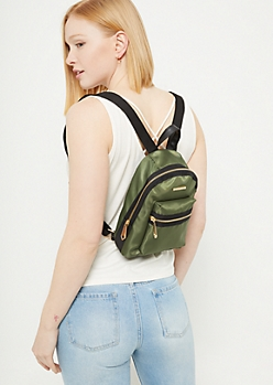 Olive Nylon Mini Backpack