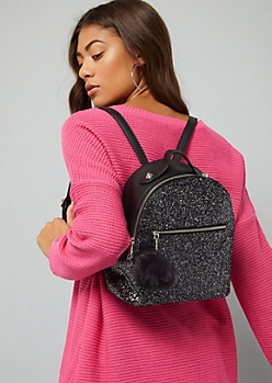 Black Glitter Pom Keychain Mini Backpack
